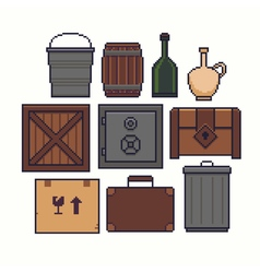 Pixel Art Containers vector image