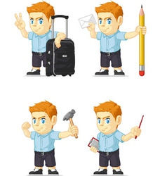 Red head boy customizable mascot 13 vector