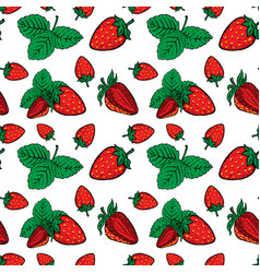 Seamless pattern with strawberries design element vector