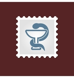 Snake medical stamp vector