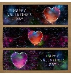 Space heart banners vector