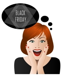 Surprised woman in black friday vector image