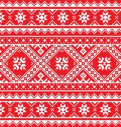 Ukrainian Slavic folk art knitted red and white vector image vector image