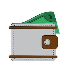Wallet with money coming out icon image vector