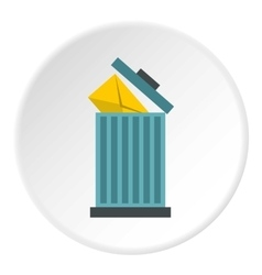 Delete letter in basket icon flat style vector