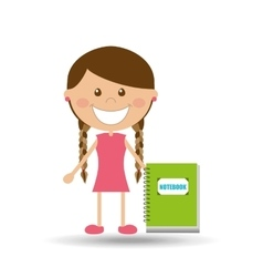 Cheerful girl study notebook design vector