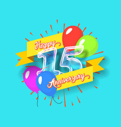 Happy 15th anniversary glass bulb numbers set vector