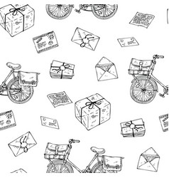Postal service seamless pattern vector