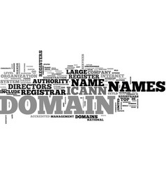 Who registers domain names text word cloud concept vector