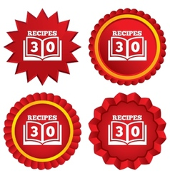 Cookbook sign icon 30 recipes book symbol vector
