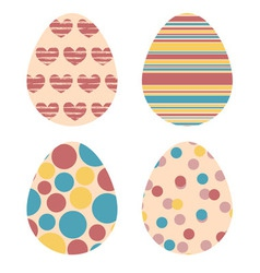 Set of decorative easter eggs in retro colors vector