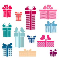 Set of coloured gift box symbols vector