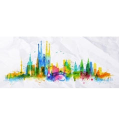 Silhouette overlay city vector image