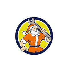 Santa claus mechanic spanner circle cartoon vector