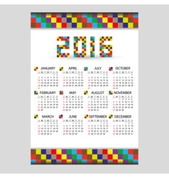 2016 wall blocky color calendar from little vector