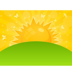 sun ascends over a field a vector illustrat vector
