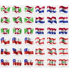 Burundi paraguay chile lebanon set of 36 flags of vector