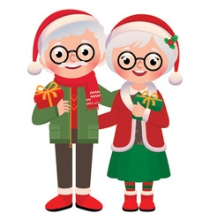 Senior married couple with christmas gifts vector