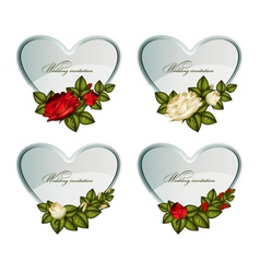 Set of silver cards heart decorated by roses vector