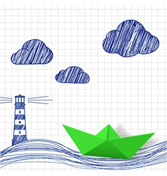 Paper boat and painted lighthouse vector