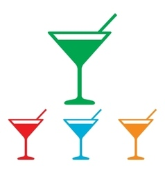 Coctail sign colorfull set vector