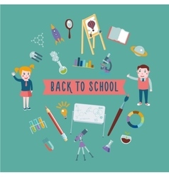 Back to school Student with equipment for lessons vector image