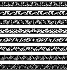 Black white ornament border designs vector