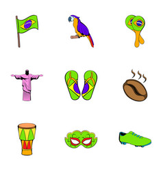 Brazilian icons set cartoon style vector