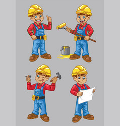 cartoon of construction worker character in set vector image