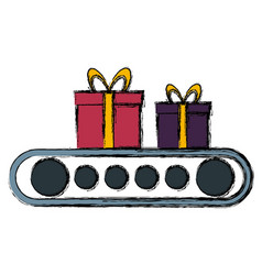 cartoon of gift boxes on conveyor belts vector image