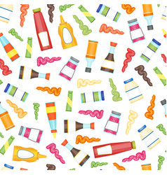 cartoon sauces bottle seamless pattern background vector image vector image