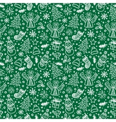 Christmas Green Seamless Pattern New year vector image