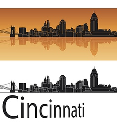 Cincinnati skyline in orange background vector image vector image