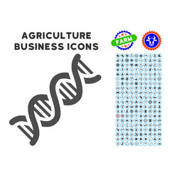 dna spiral icon with agriculture set vector image vector image