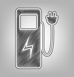 Electric car charging station sign pencil vector