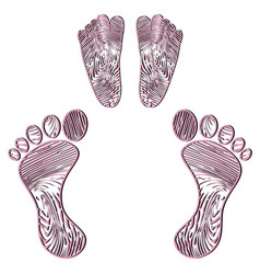 Embossed human footprint vector