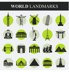 Famous monuments and landmarks icons travel and vector