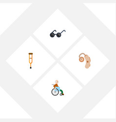 Flat icon cripple set of audiology stand vector
