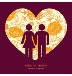 golden art flowers couple in love vector image