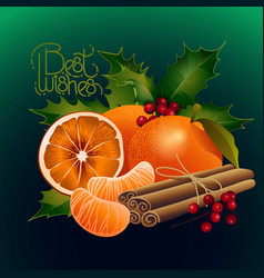 Graphic oranges decorated with holly plants and vector