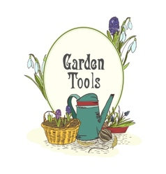 Hand drawn gardening tools emblem vector
