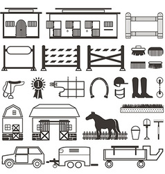 Horse Riding set in black and white vector image