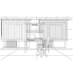 interior sketch rendering of 3d vector image