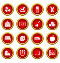 Kindergarten symbol icon red circle set vector
