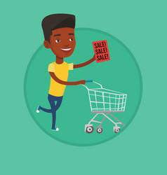 man running in hurry to the store on sale vector image vector image