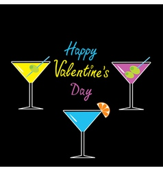 Martini glasses set Happy Valentines Day card vector image