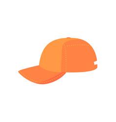 Orange baseball cap sport equipment cartoon vector