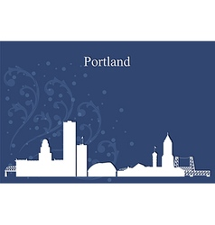 Portland city skyline on blue background vector