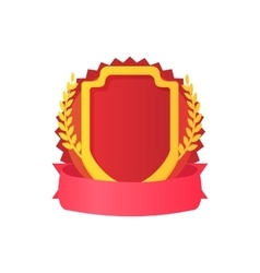 Red shield with ribbon and laurel icon vector image