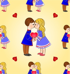Seamless texture Cute figure children and hearts vector image